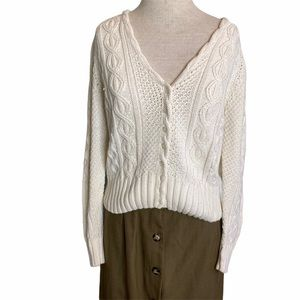 Hunters Run Vintage Cable Knit Cardigan Ivory